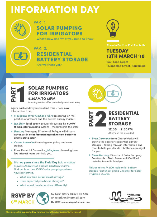Solar Pumping for Irrigators and Residential Battery Storage Information Day Flyer